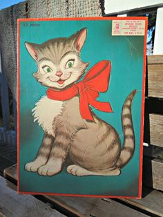 50s Tray Puzzle gray tabby Cat with red ribbon - is this just too cute or what?? :)
