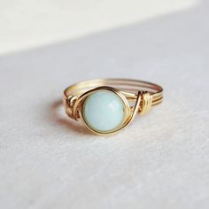 Aqua Mint Jade Ring unique ring bohemian jewelry by littlestgem
