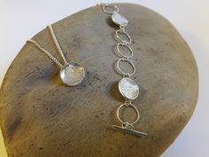 Beautiful silver ginkgo leaf pendant with matching bracelet - by Ruru Jewellery