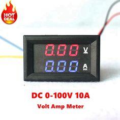 """Mini Digital Voltmetro Amperometro DC 100 V 10A Panel Amp Volt del Tester del tester 0.28 """"blu Rosso Doppio Display A LED di Trasporto Libero"""