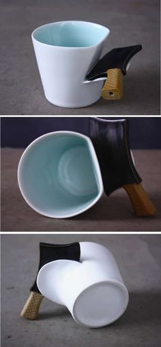 Porcelain Knife Handle Coffee Mug Ceramic Coffee Cups, Coffee Mugs, Funny Picture Jokes, Cool Gadgets To Buy, Cute Cups, Diy Home Decor Projects, Mug Cup, Games For Kids, Ceramic Art