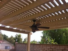 Solid Top Two Tone Alumawood Patio Cover With Ceiling Fan