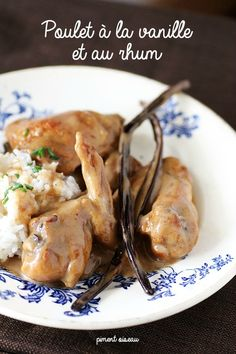 Poulet à la vanille et au rhum- Chicken stew in Rum and vanilla sauce