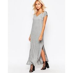 b.Young Maxi T-Shirt Dress (£34) ❤ liked on Polyvore featuring dresses, grey, grey maxi dress, gray t-shirt dresses, maxi dresses, grey t shirt dress and grey t-shirt dresses