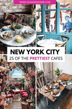 New York City is filled with cafes serving delicious pastries and coffee that double as a Instagram spot. Find out the 25 prettiest cafes in NYC!  #NYC #NYCTravel #NewYorkCity #NYCFood #NYCcafe #NewYorkCityFood #NewYorkCityCafe #NYCInstagram #NYCcoffeeshop New York Travel Guide, Usa Travel Guide, Travel Usa, Travel Tips, Travel Goals, Travel Guides, Cafe Nyc, Cafe New York, New York City Vacation