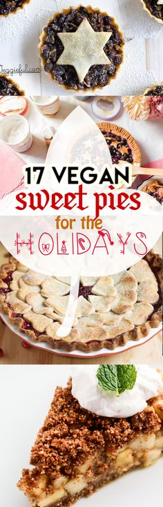 ♥ ♥ 17 Vegan Sweet Pies for the Holidays! ♥ ♥ Especially perfect for Thanksgiving. Nom nom nom! | A recipe list compiled by My Wife Makes in conjunction with Foodie.com. #vegan #veganpies #recipe #desserts #sweet