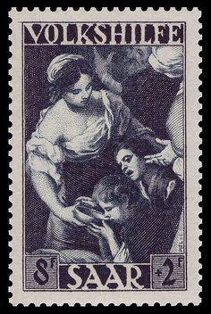 Germany (Saar) Stamp 1949 - 267 Bartolomé Esteban Murillo - Das Wunder Moses am Felsenquell