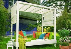 Lounging Himmelbett - Garden Lounge - step by step tutorial and free pdf template/plans - Bildanleitung und pdf Schnittvorlage