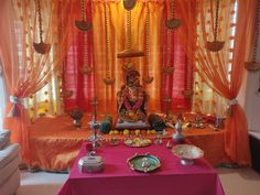 Decoration For Ganpati, Frames, Curtains, Ideas, Home Decor, Blinds, Frame, Interior Design, Draping