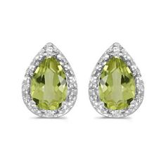 14k White Gold August Birthstone Pear Peridot And Diamond Earrings