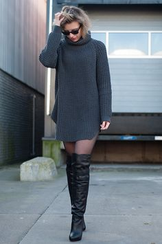 Oversized Knitted Turtleneck Hope Grand Sweater Dress Grey, & Other Stories Black Over The Knee Boots Thigh High Boots, Vintage Black Leather Jogger Shorts, Black Ray Ban Wayfarer Sunnies