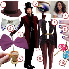 Juli from Just Pepperminty recreates the costume of Willy Wonka from Charlie & The Chocolate Factory for today's Halloween DIY The Look: Willy Wonka Halloween Costume, Purim Costumes, Cute Costumes, Halloween Cosplay, Halloween Outfits, Girl Costumes, Halloween Party, Costume Ideas, World Book Day Costumes