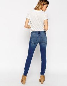 Enlarge ASOS PETITE Ridley Skinny Jeans In Mid Blue Wash