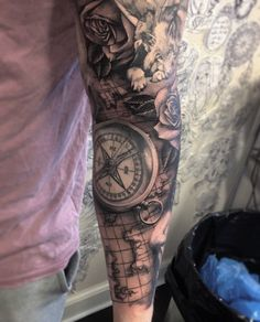 Compass with flower full sleeve tattoo - 50+ Awesome Compass Tattoo Designs