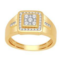 Bague or jaune et diamant homme