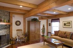 Colonial Living Room - love the beams!