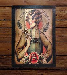 Reclaimed Wood Hair Stylist Wall Art by Shipyard Ink on Scoutmob Shoppe