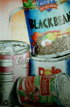 stacked cans still life have students bing in can when lesson is done donate to food bank! Drawing and community service.