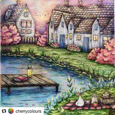 Que maravilha! 😱 By  @cherrycolours with @repostapp #romanticcountry #coloringbook  #desenhoscolorir ️#romanticcountrycoloringbook #eriy #art