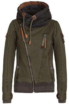 Green Plain Zipper Cardigan Hooded Sweatshirt