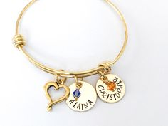 Charm Bracelet with Personalized Name Charm Birthday Gift for Daughter Mom Hand Stamped Custom Bracelet Birthstone /& Ballet Shoes Charm