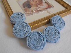 Baby Blue Rosette Necklace Fabric Rosette by JessieKateDesigns, $25.00
