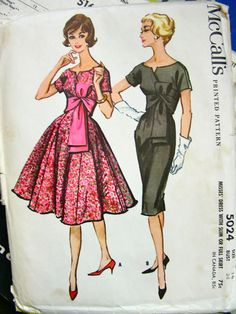Vintage 50s Empire SASH Gored Wiggle or Swing Dress Pattern - RARE - McCalls 5024 - Bust 34 - FF