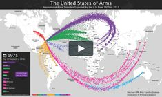 weapons exports from 1950 to Data from the Stockholm International Peace Research Institute's Arms Transfers Database. Units are expressed in trend indicator values (TIV). Each dot on the map = one TIV. Visualization by Will Geary. Digital Fabrication, Research Institute, Stockholm, Weapons, All About Time, Digital Marketing, Arms, United States, The Unit
