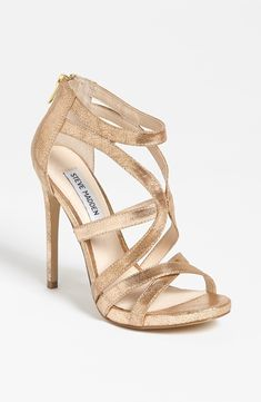 "Steve Madden ""Stella"" gold-metallic leather open-toe high-heeled caged sandal"