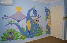 These cute dinosaurs are sure to delight any little boy or girl. Since they are paint-by-number you can change the colors and repeat the mural in whole or in part!