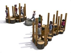 Practice balance and agility on the natural weaving adventure trail. Weave in and out of the poles, ideal for group game playing. Suitable for all ages. Natural Play Spaces, Outdoor Play Spaces, Kids Indoor Playground, Playground Design, Playground Ideas, Natural Outdoor Playground, Kids Play Area, Outdoor Classroom, Outdoor Learning