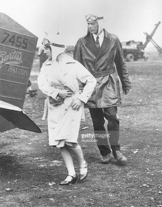 Here Charles A Lindbergh and Mrs <a gi-track='captionPersonalityLinkClicked' href=/galleries/search?phrase=Anne+Morrow+Lindbergh&family=editorial&specificpeople=93082 ng-click='$event.stopPropagation()'>Anne Morrow Lindbergh</a> prepare to take off from Roosevelt Field, LI for an inspection flight tour, New York, 1929. The first 1929 commercial routes were surveyed and laid out by the Lindberghs.
