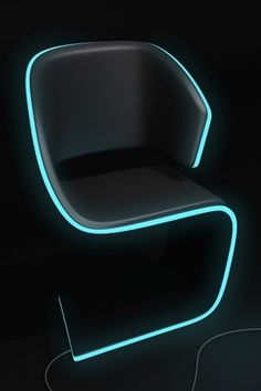 Lamed Chair design © Rodolphe Pauloin. Plug it in and get a Neon Blue light. How Cool is this?!?!!! #pin_it @mundodascasas see more here: www.mundodascasas.com.br
