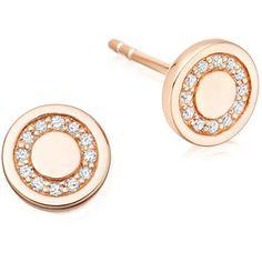 Astley Clarke Cosmos 14K Rose-Gold Pavé Diamond Mini Stud Earrings ($630) ❤ liked on Polyvore featuring jewelry, earrings, rose gold, pink gold earrings, 14k jewelry, rose gold jewelry, post earrings and circle stud earrings