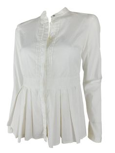 Burberry Cotton White Peplum Button Down Blouse, Size 38/ US 2-NWT #Burberry…
