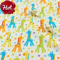 BESTSELLER | Zoo ♥ 52x49cm Giraffe in Lilac Mist Cotton Fat Quarter Fabric