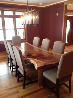 Contemporary Rustic Dining Table - Living Edge Dining Table - Custom Sizes Available
