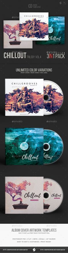 Chillout Trilogy vol.4 - CD Cover Templates Bundle - #CD & DVD #Artwork Print #Templates Download here: https://graphicriver.net/item/chillout-trilogy-vol4-cd-cover-templates-bundle/19398073?ref=alena994