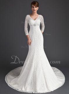 Trumpet_Mermaid V-neck Chapel Train Satin Lace Wedding Dress With Beading (002011525) $263.99 Wedding Dresses