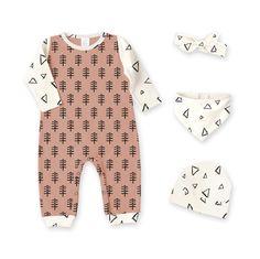 Newborn Take Home Outfit, Romper & Optional Hat Headband Bib, Hipster Minimalist Tree Triangle Romper, Baby Boy Girl Coming Home, Tesa Babe