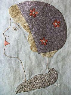 Vintage Embroidered Linen Picture Panel Flapper Lady Portrait