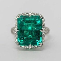 Green-Emerald-cut-cocktail-Solitaire-Party-Ring-solid-925-sterling-silver-Flower