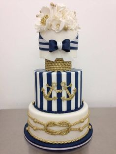 Nautical Hamptons NYC wedding cake - by CakeyBakey Boutique Nautical Wedding Cakes, Nautical Bridal Showers, Nautical Cake, Nautical Theme, Wedding Decor, Wedding Ideas, Fancy Cakes, Cute Cakes, Gorgeous Cakes
