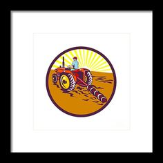 Farmer On Tractor Circle Retro Framed Print by Aloysius Patrimonio.  Illustration of a farmer gardener riding on tractor plowing mowing viewed from rear set inside circle with sunburst in the background done in retro style. #illustration #FarmerOnTractor