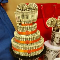 MoneyCake  Money cake  My son turned 12 so I added $2 bill behind the $1 bill. Great idea for preteen, teens and adults. Who doesn't love money?