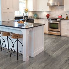 Low Cost Wood Flooring Ideas, Laminate Flooring Craft Ideas and Pics of Elegant Living Room Flooring. Laminate Flooring In Kitchen, Laminate Flooring Colors, Waterproof Laminate Flooring, Flooring Ideas, Floors Kitchen, Kitchen Backsplash, Flooring Options, Kitchen Cabinetry, Cabinets