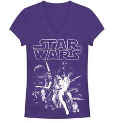 Star Wars Poster V-neck Juniors Purple T-shirt SIZE L? $19.99US - amazon.com