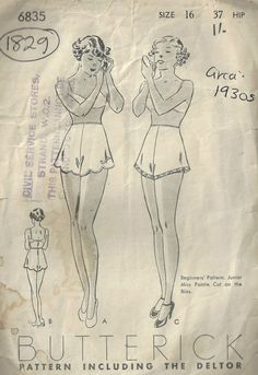 "1930s Vintage Sewing Pattern W28"" PANTIES KNICKERS (1829) By Butterick 6835 by tvpstore on Etsy"