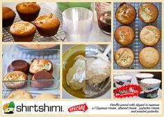 Vanilla pound cake dipped in espresso  w/ Espresso cream, almond cream , pistachio cream  and roasted pistachio.    https://www.facebook.com/pages/shirtshimi/334460393346