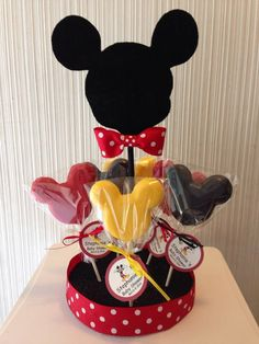 Mickey Mouse Centerpiece, Minnie Mouse Centerpiece, Mickey Mouse Lollipop, Minnie Mouse Lollipop. by designsbyemilys on Etsy https://www.etsy.com/listing/203030083/mickey-mouse-centerpiece-minnie-mouse